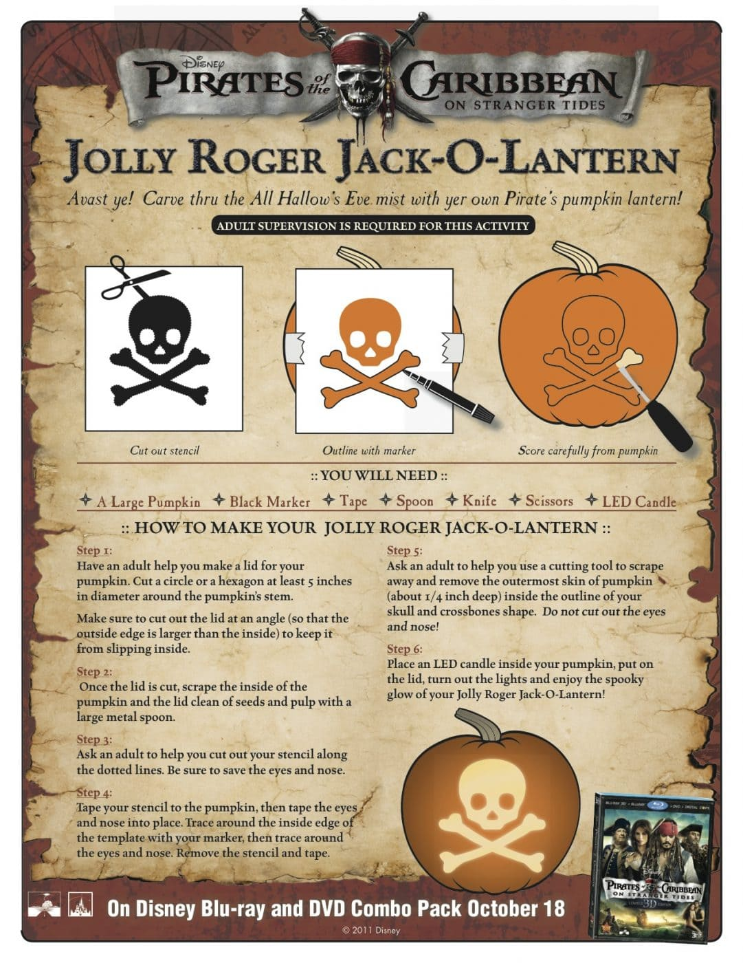 FREE Jolly Roger Jack-O-Lantern Stencil from Pirates of Caribbean