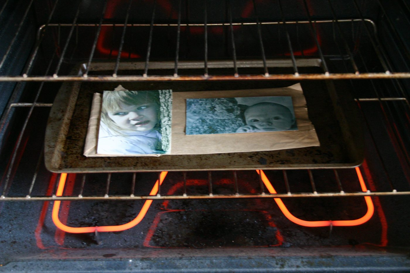 Shrinky Dinks in the oven