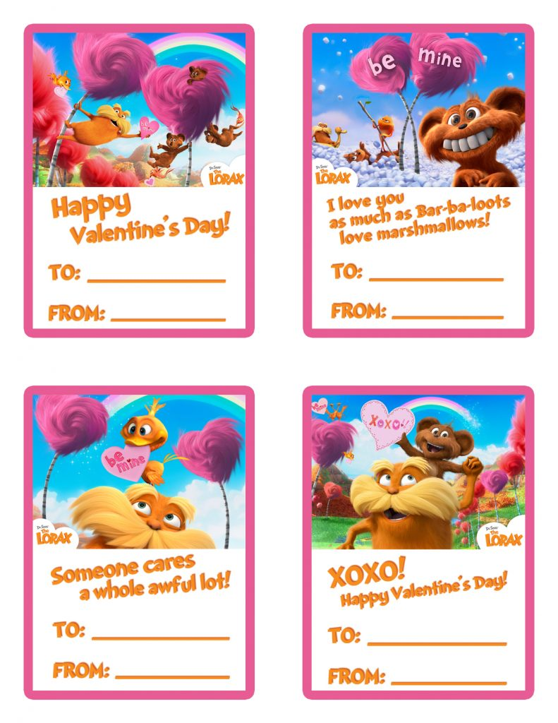 FREE   The Lorax Printable Valentine's Day Cards