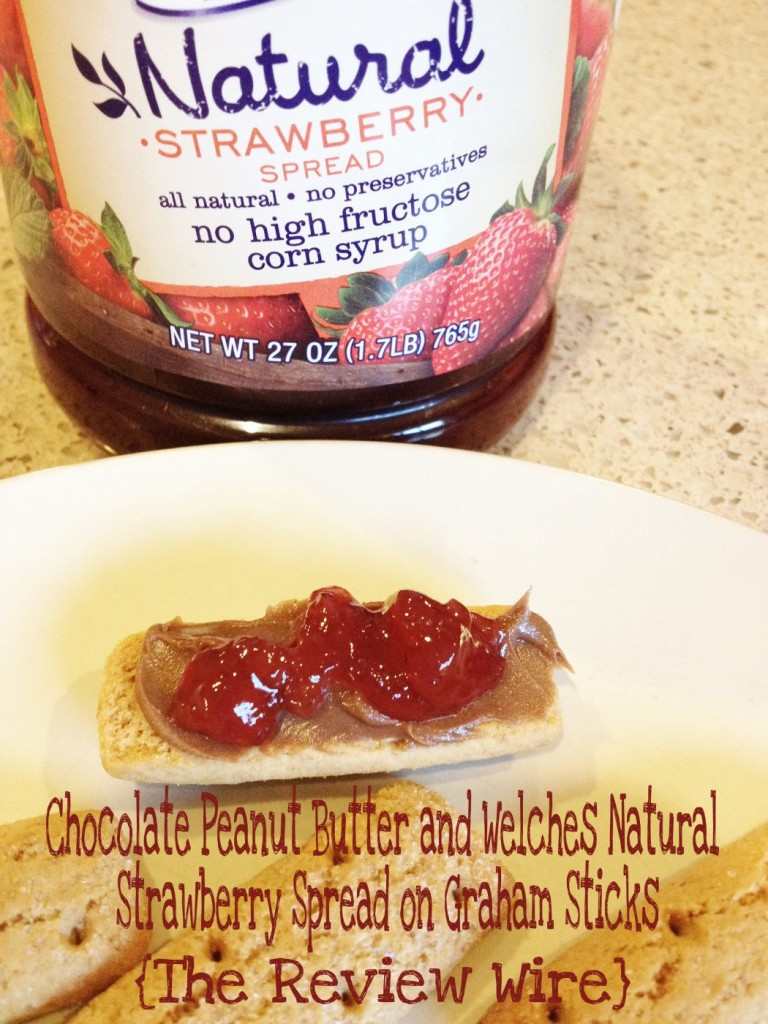 Chocolate Peanut Butter and Welches Natural Strawberry Spread on Graham Sticks
