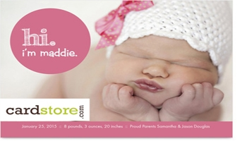 Ten FREE Birth Announcements at Cardstore