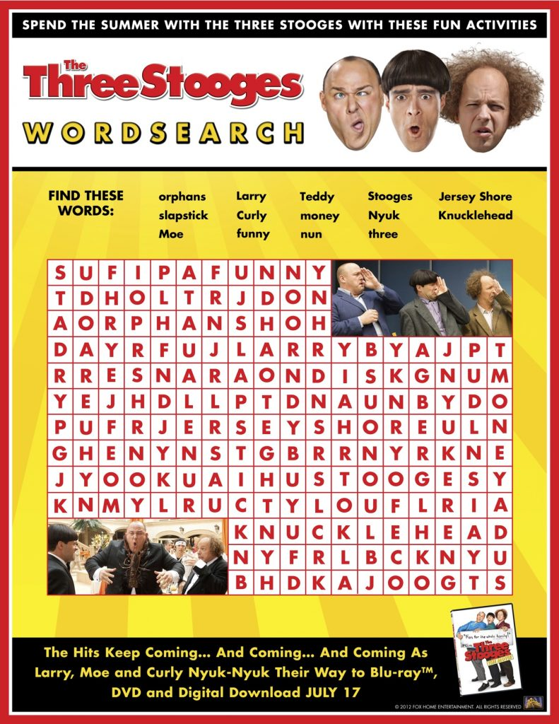 3 Stooges Word Search