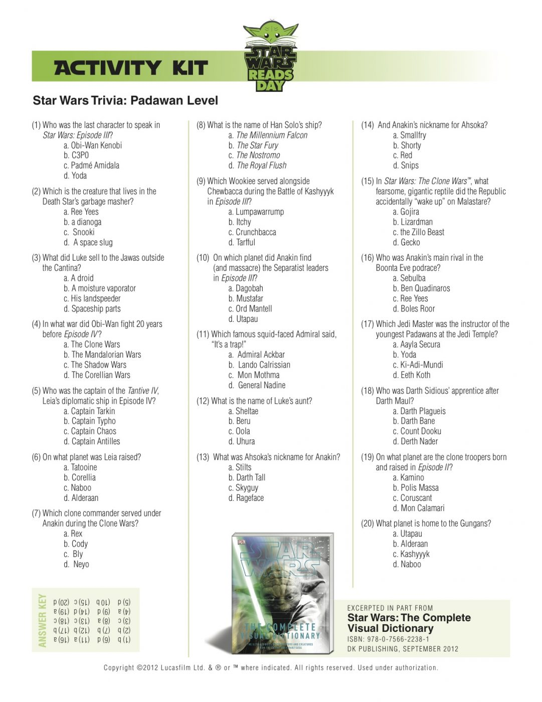 Star Wars Reads Day Activity Pages