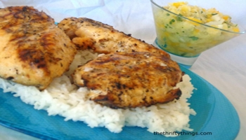 Lemon Grilled Chicken with Pineapple Salsa and Rice