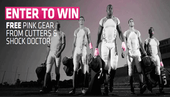 Cutters and Shock Doctor are supporting breast cancer awareness by giving away FREE pink gear. Enter at Facebook to get your code to win and show your support.