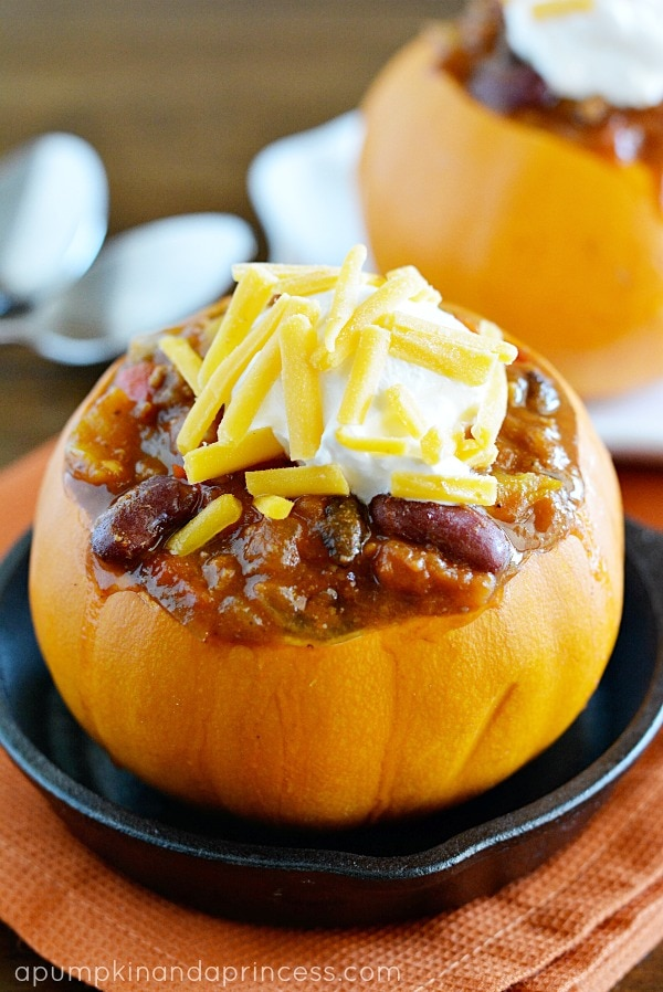 Spicy Slow Cooker Pumpkin Chili from A Pumpkin and a Princess
