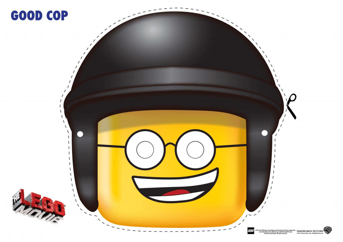 The LEGO Movie Coloring Pages and LEGO Face Masks - LEGO Movie Good Cop Mask