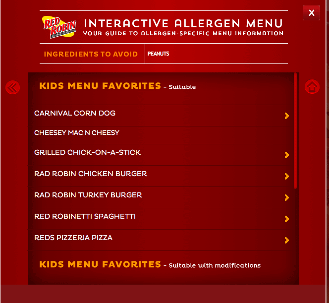 Red Robin Allergen Menu