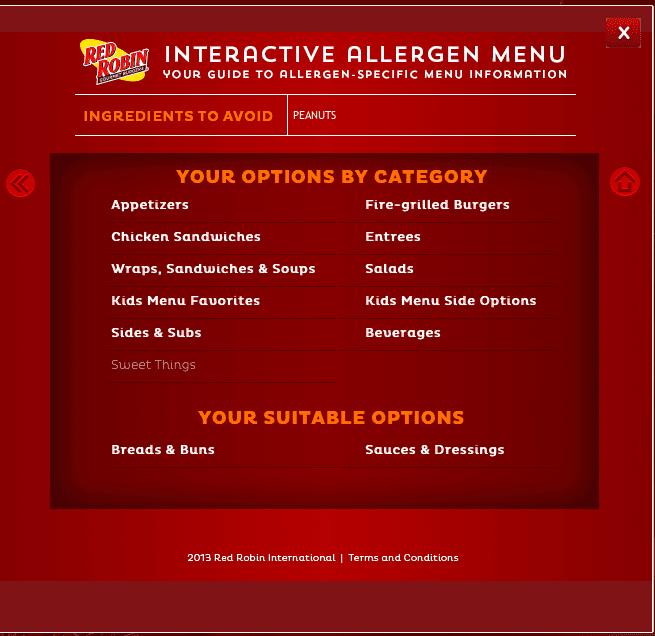 Red Robin Allergen Menu