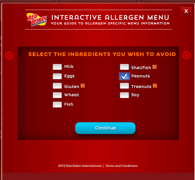 Red Robin Interactive Allergen Menu