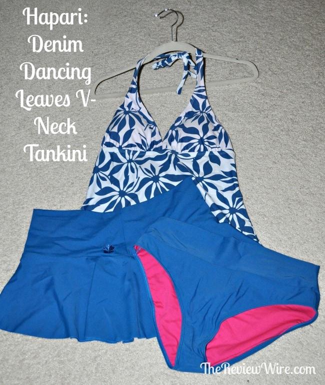 Denim Dancing Leaves V-Neck Tankini