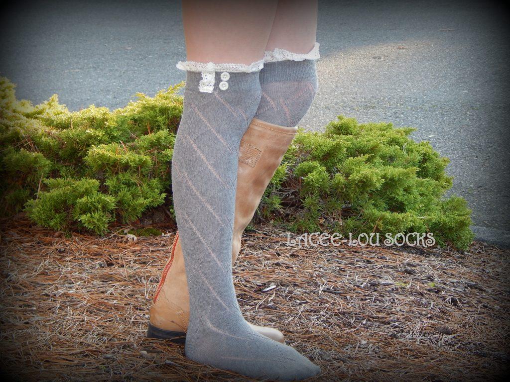 GRAY diamond knit lace boot cuffs