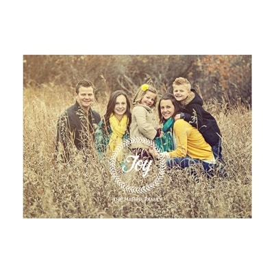 Holiday Greeting Cards: Photo Paper Joy Wreath