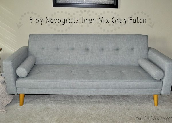 9 by Novogratz Linen Mix Grey Futon