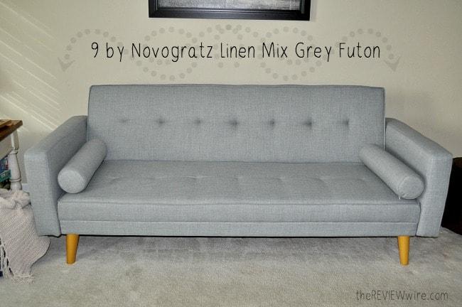 9 by Novogratz Linen Mix Grey Futon