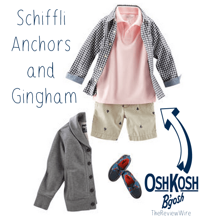 Schiffli anchors and gingham