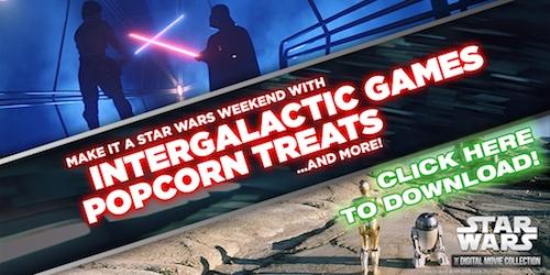 Star Wars Intergalactic games and popcorn treats