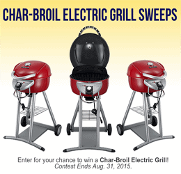 Win a Char-Broil Electric Grill- Ends Aug 31 2015.
