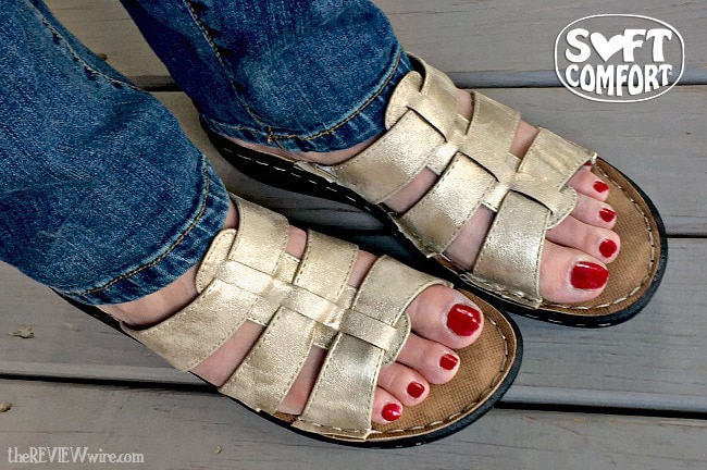 Soft Comfort Gold Cross Band Sandals
