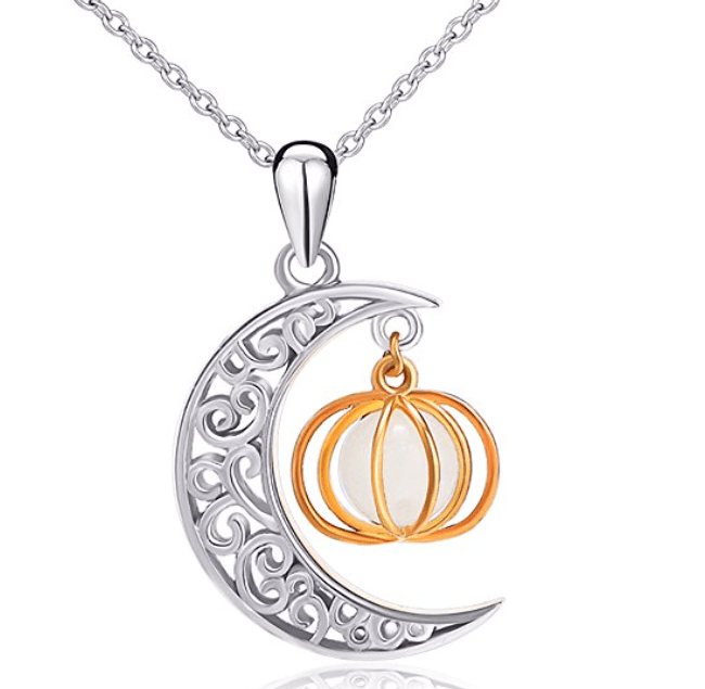 Moon and Pumpkin Necklace