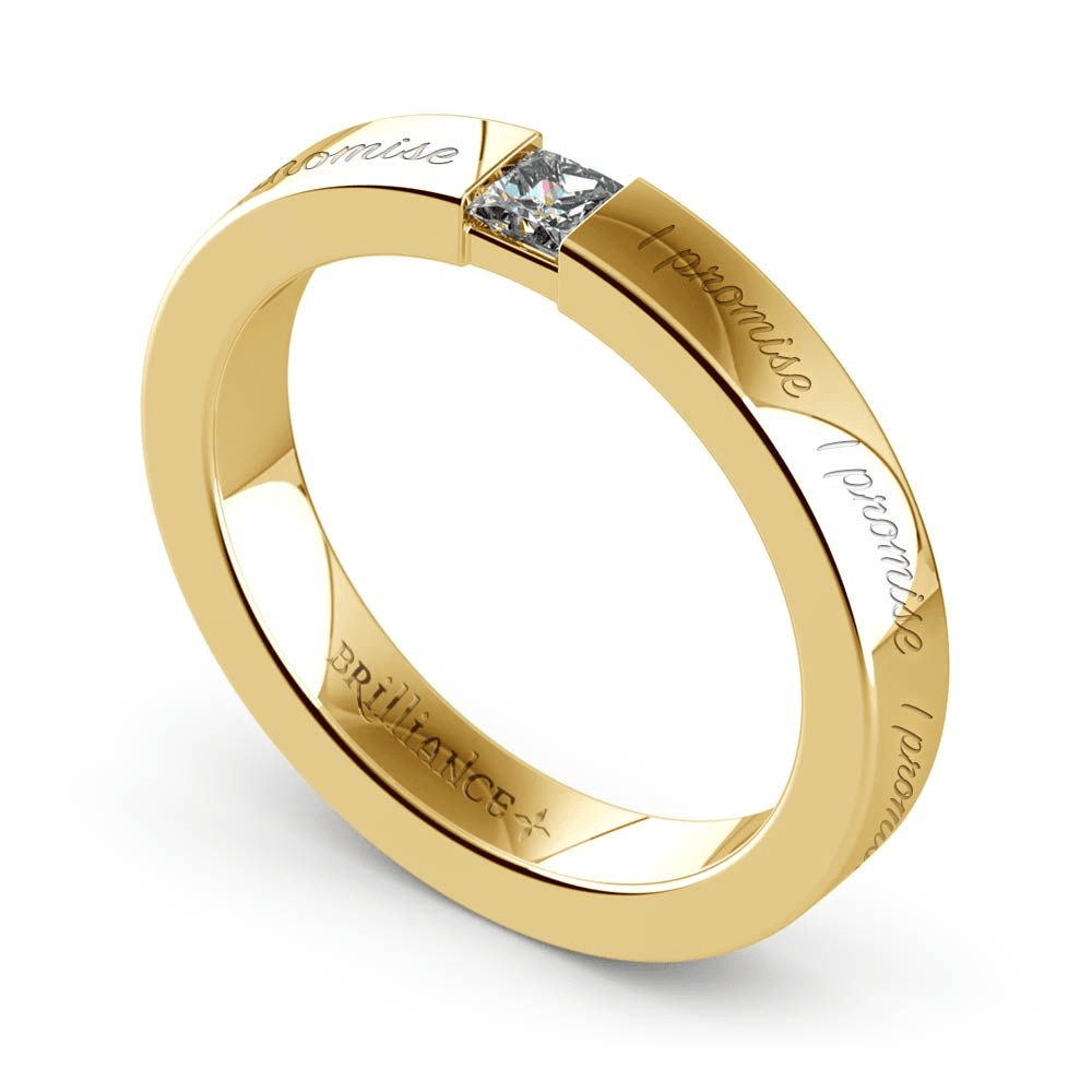 """I Promise"" Engraved Princess Diamond Promise Ring in Yellow Gold"