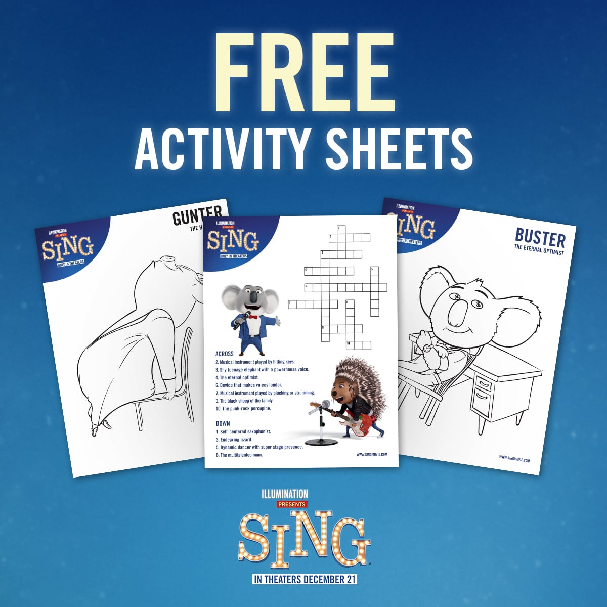 SING Printable Activity Pages | The Review Wire