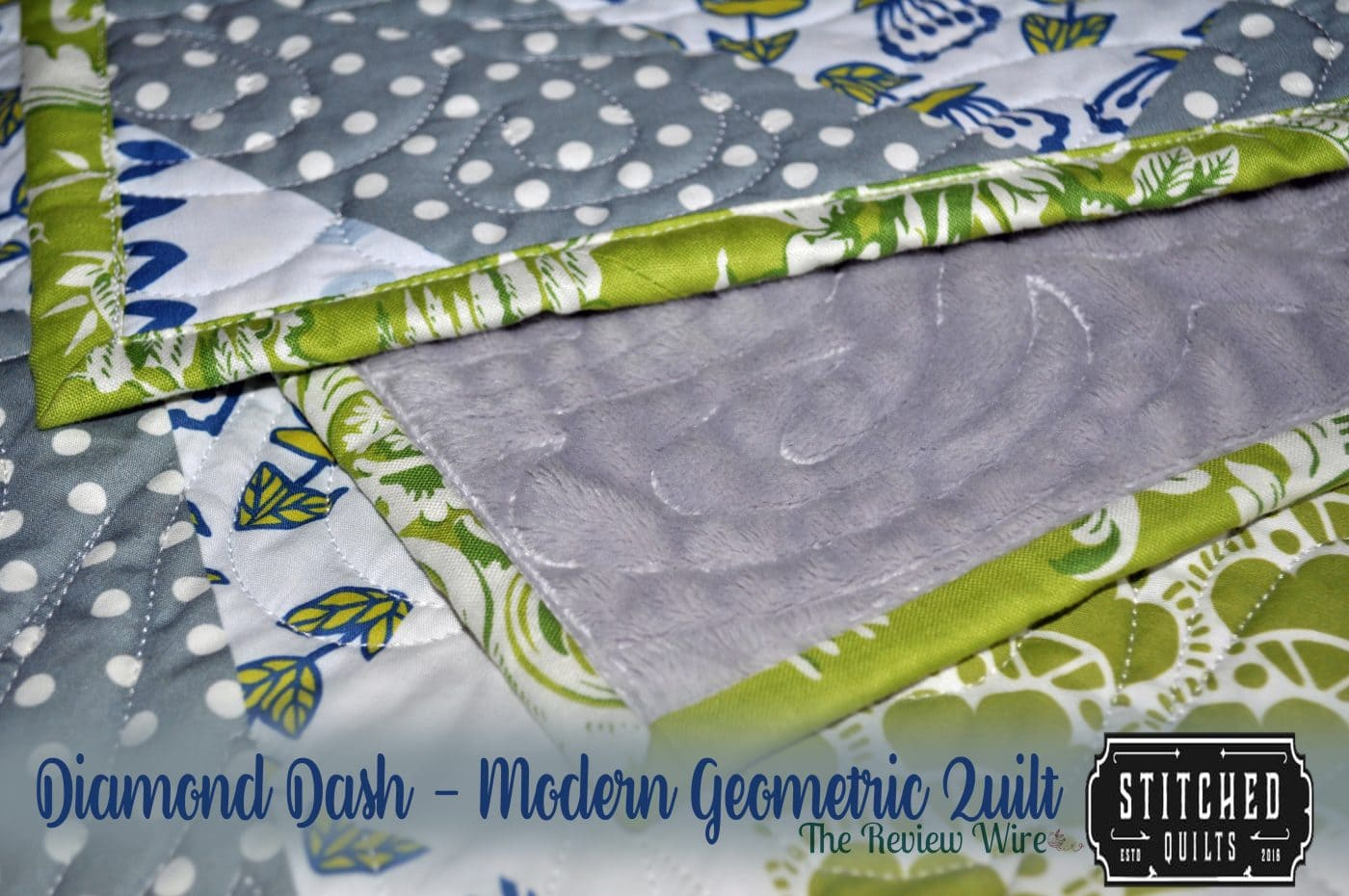 Diamond Dash - Modern Geometric Quilt_Green and Gray