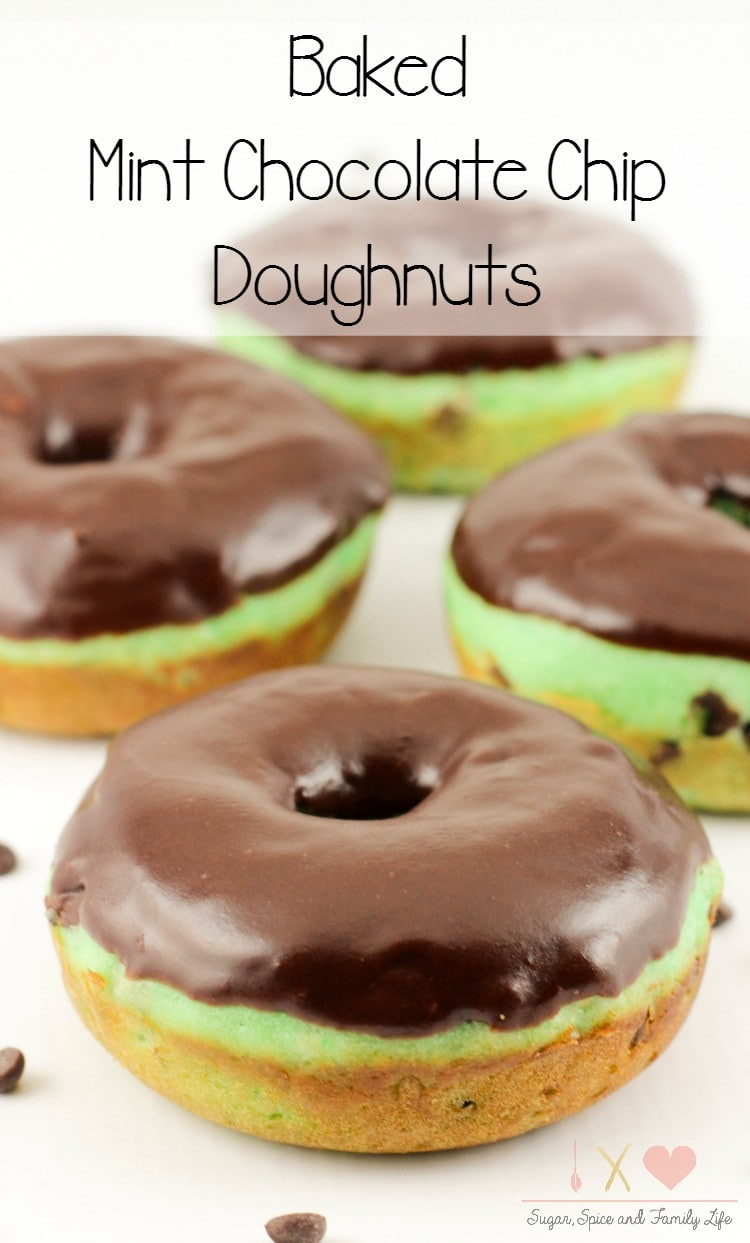 Baked Mint Chocolate Chip Doughnuts