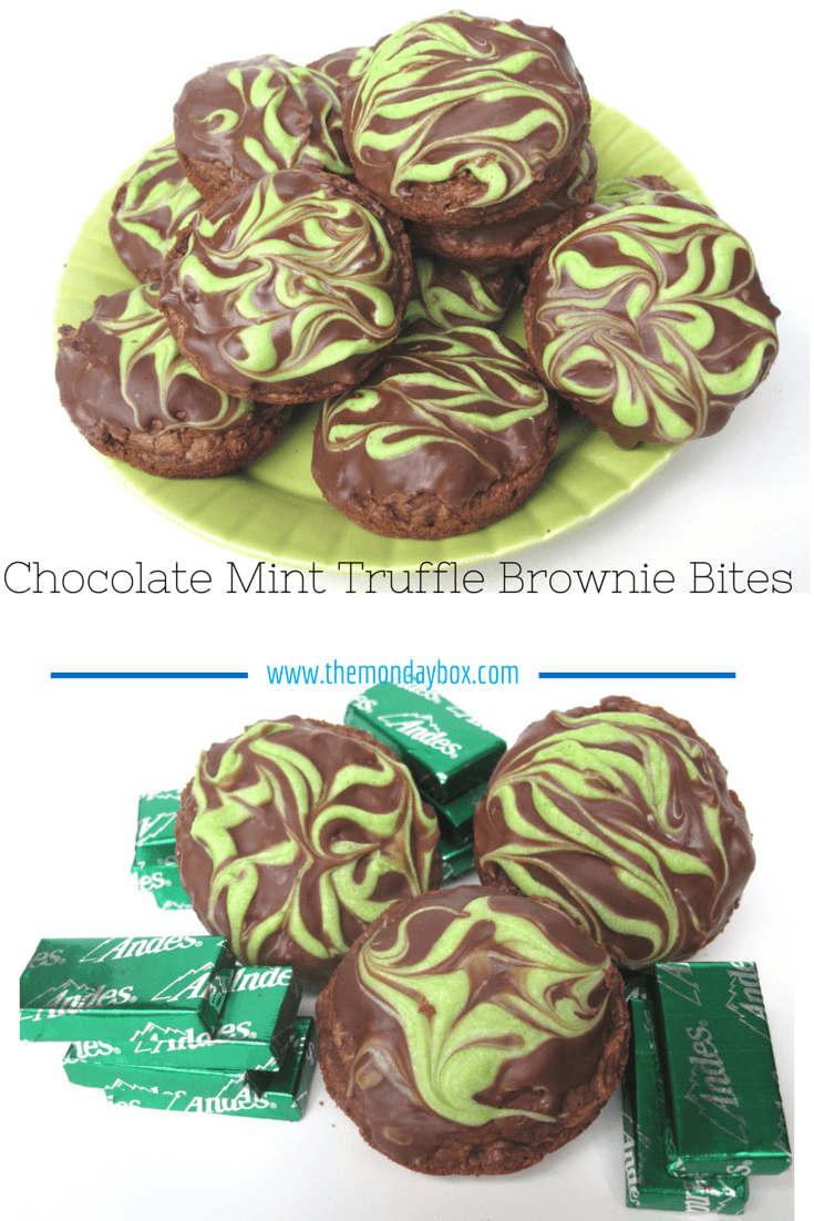 Chocolate Mint Truffle Brownie Bites