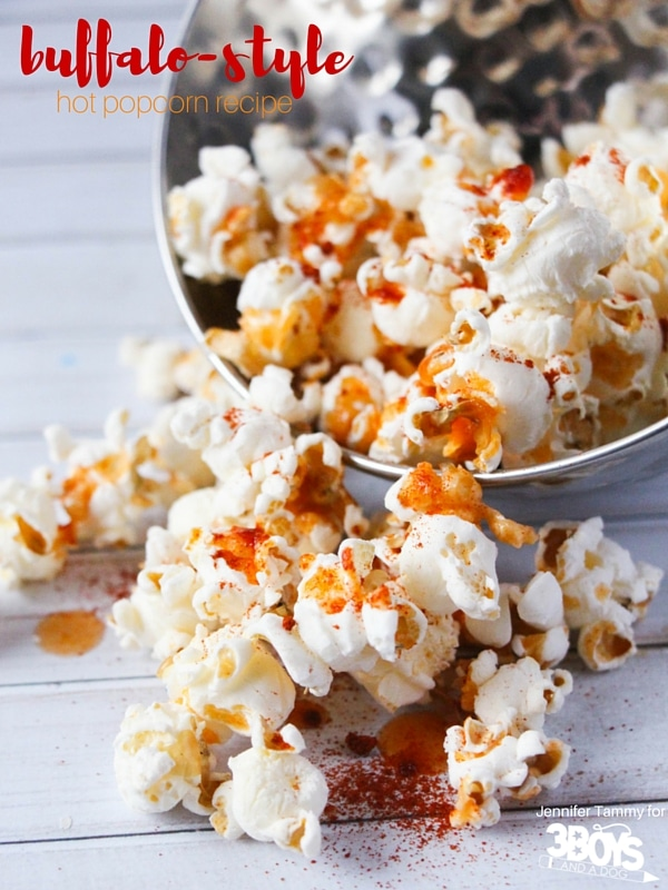 Buffalo-Style Hot Popcorn from 3 Boys and a Dog