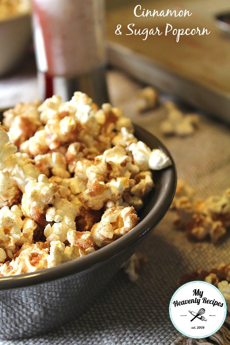 Homemade Cinnamon Sugar Popcorn from My Heavenly Recipes