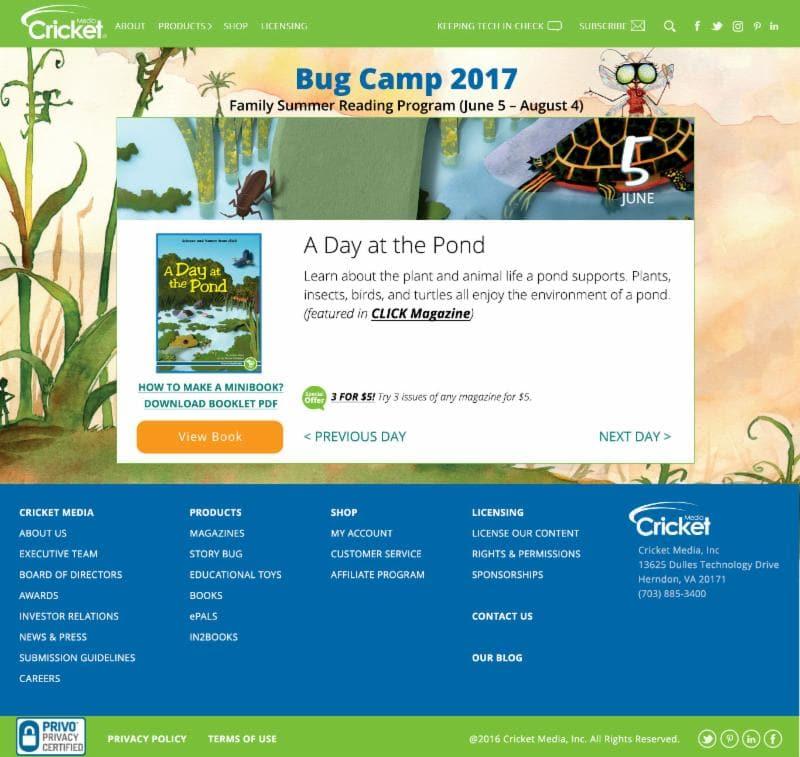 Bug Camp 2017: A Free Online Summer Reading Program