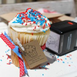 Patriotic Polka Dotted Cupcakes