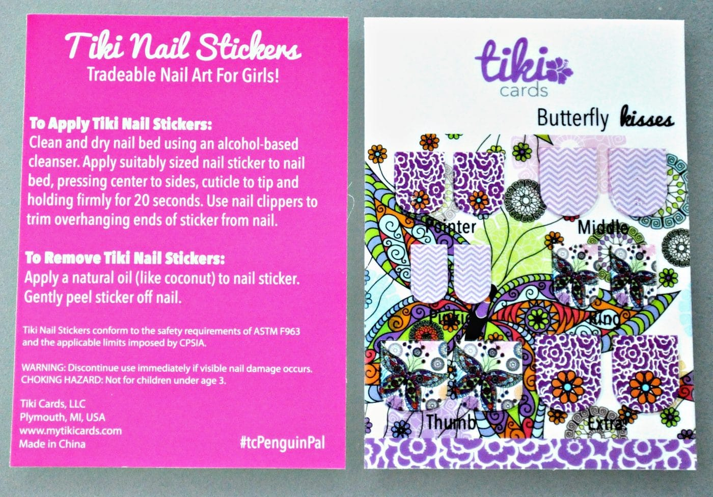 Tiki Nail Stickers Butterfly Kisses