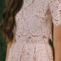 Fleur Blush Pink Lace Midi Dress