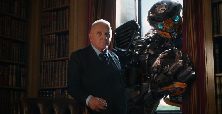Sir Anthony Hopkins as Sir Edmond Burton and Hot Rod in TRANSFORMERS THE LAST KNIGHT, from Paramount Pictures.