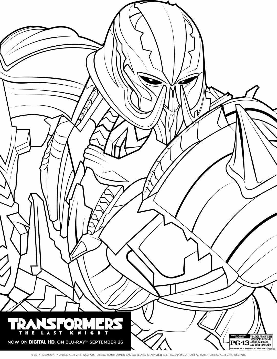 transformers the last knight coloring sheet - Knight Coloring Pages