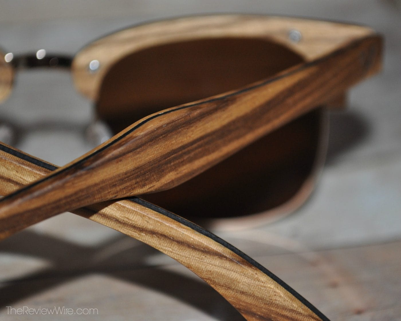 Zylina Sunglasses from the Antillia Collection Up close view of Zebra Wood