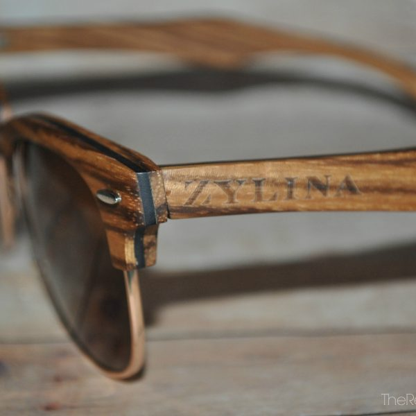 Zylina Sunglasses from the Antillia Collection in Zebra Wood and Brown Lenses