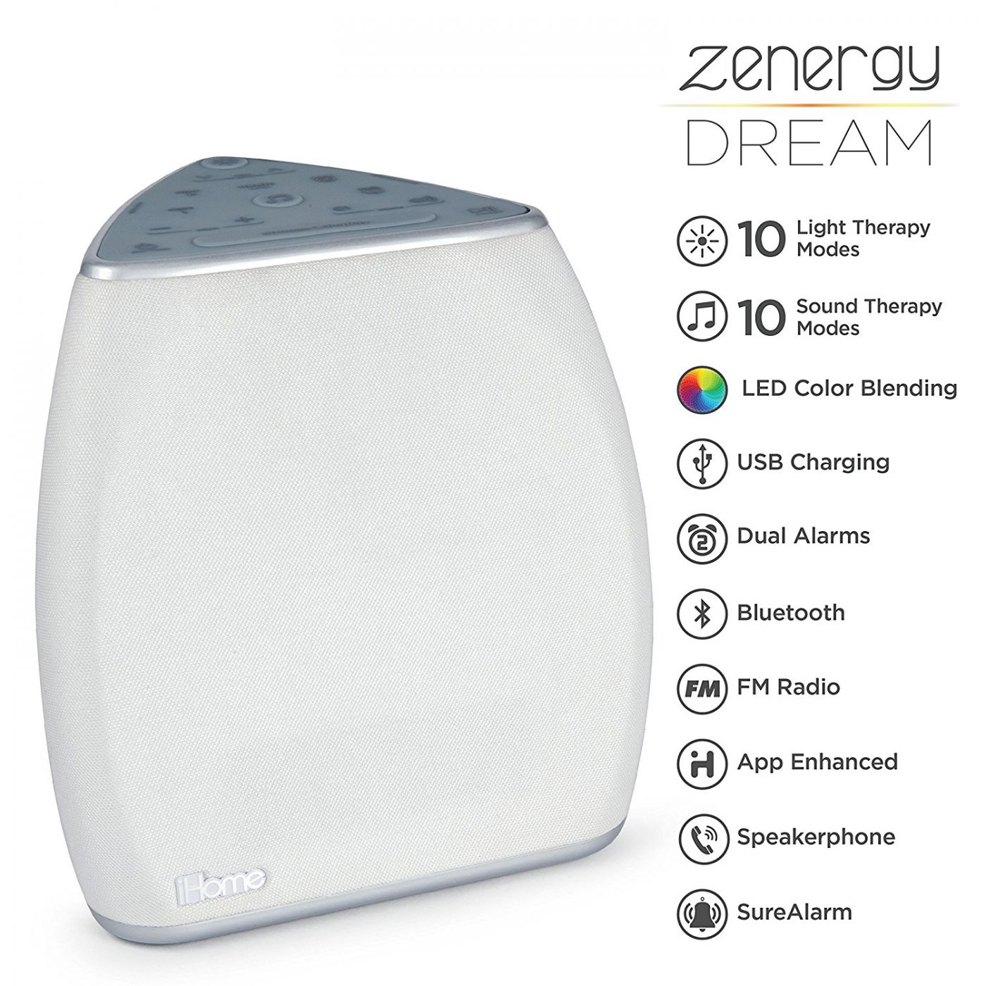 iHome Zenergy Bedside Sleep Therapy Machine Features