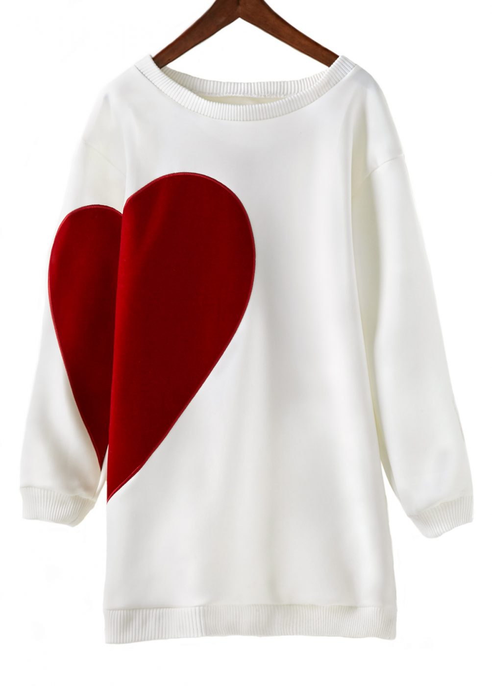 Heart Print Long Sleeve Sweatshirt