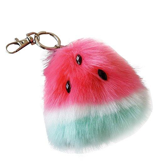 Watermelon Rabbit Fur Ball Keychain