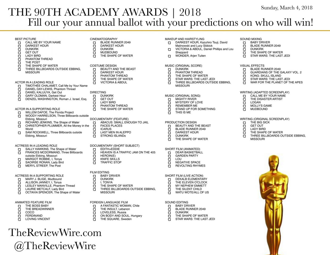 image relating to Printable Ballot titled Printable Oscar Ballot 2018: The In depth Checklist The Assessment Twine