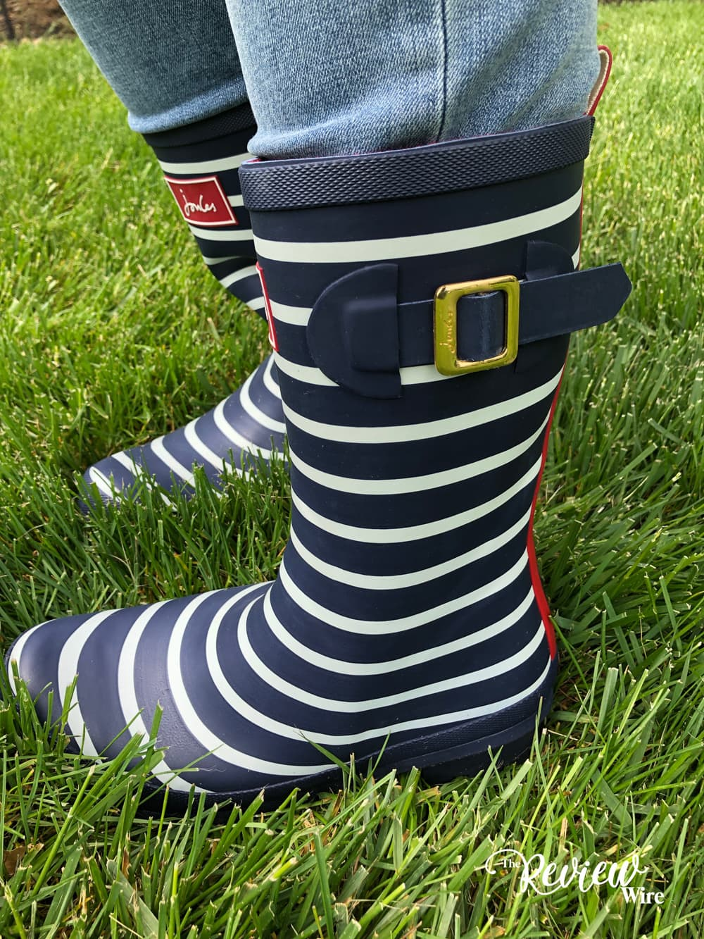 Joules Navy Stripe Wellies Side View