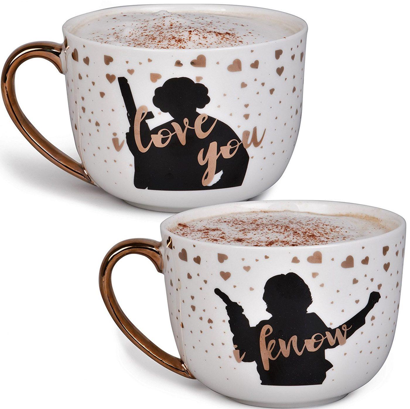 Star Wars Princess Leia and Han Solo Coffee Mug Set