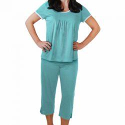 Cool-jams Wicking Sleepwear Pleated T-shirt Capri Set