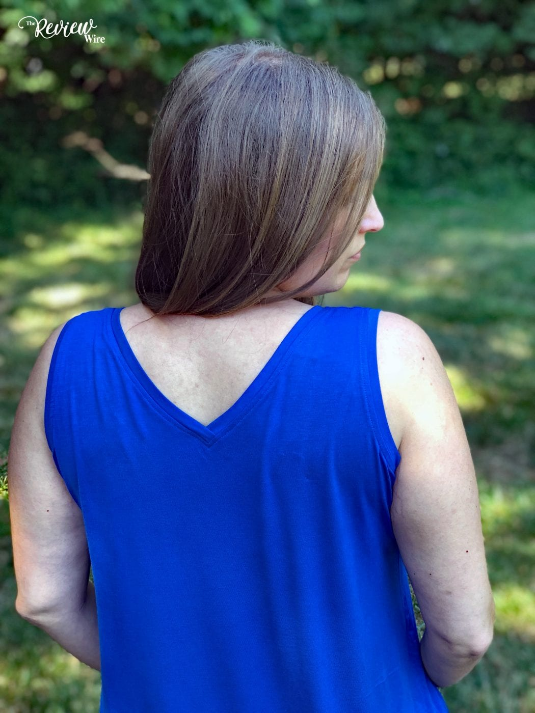 V neck in the Ruby Ribbon Dual Tank