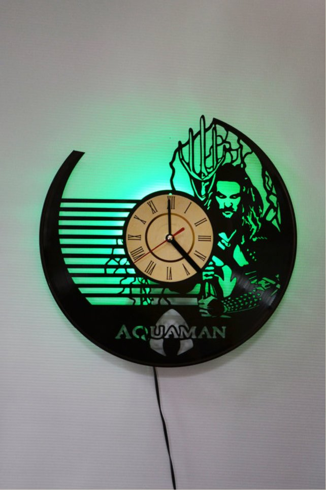 Aquaman Superhero Marvel Comics Book Vinyl Wall Clock with LED Backlight