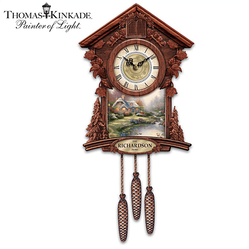 The Review Wire: The Bradford Exchange Personalized Gifts: Personalized Wall Clock With 4 Thomas Kinkade Art Plaques