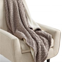 Sweaterknit Lattice Reversible Faux-Fur Throw
